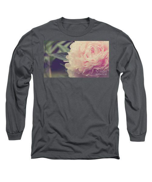 Long Sleeve T-Shirt featuring the photograph Pink Peony Vintage Style by Edward Fielding