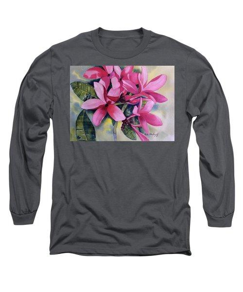 Pink Plumeria Flowers Long Sleeve T-Shirt