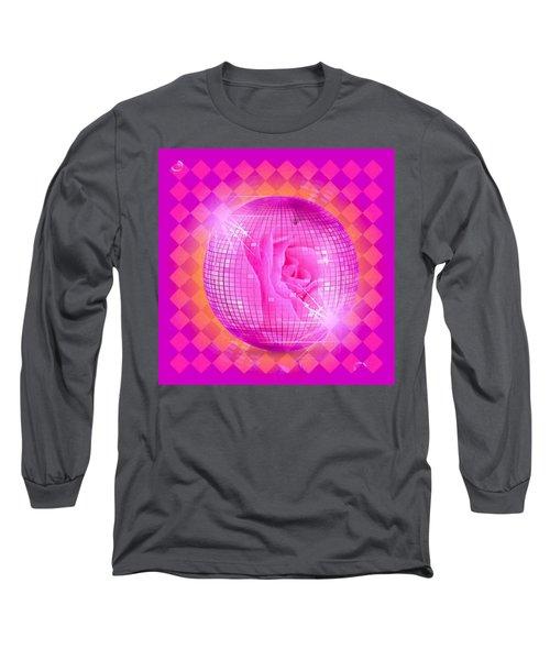 Pink Rose In Globe Long Sleeve T-Shirt