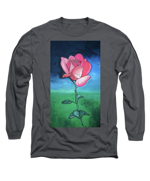 Pink Rose Long Sleeve T-Shirt by Mary Ellen Frazee