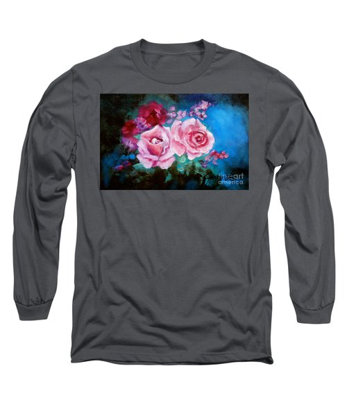 Pink Roses On Blue Long Sleeve T-Shirt by Jenny Lee
