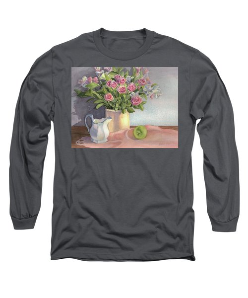 Long Sleeve T-Shirt featuring the painting Pink Roses by Vikki Bouffard