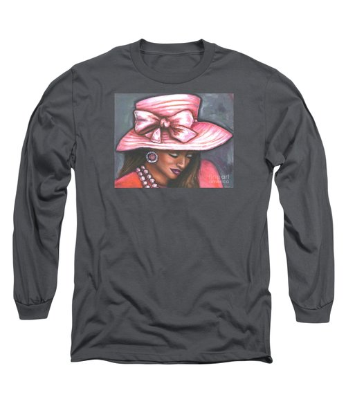 Long Sleeve T-Shirt featuring the painting Pink Satin Hat by Alga Washington