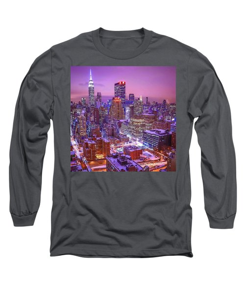 Pink Sky Above New York City Long Sleeve T-Shirt