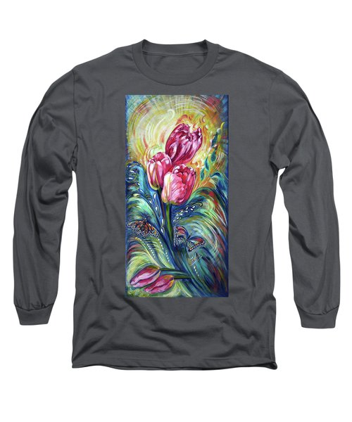 Pink Tulips And Butterflies Long Sleeve T-Shirt