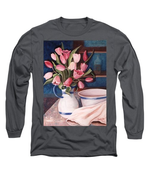 Long Sleeve T-Shirt featuring the painting Pink Tulips by Renate Nadi Wesley