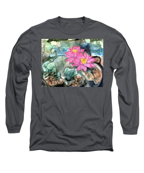 Long Sleeve T-Shirt featuring the painting Pink Waterlily by Sherry Shipley