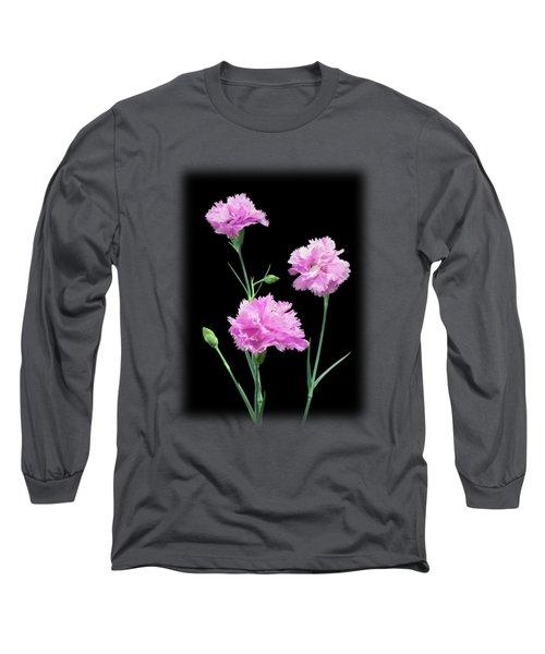 Pinks On Black Long Sleeve T-Shirt