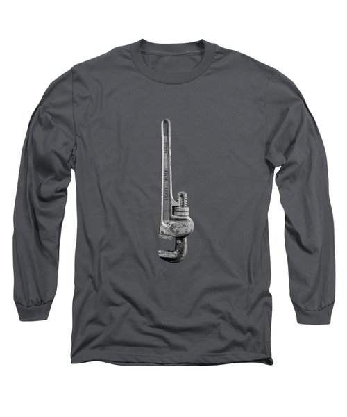 Pipe Wrench Upside Down On Plywood 70 In Bw Long Sleeve T-Shirt