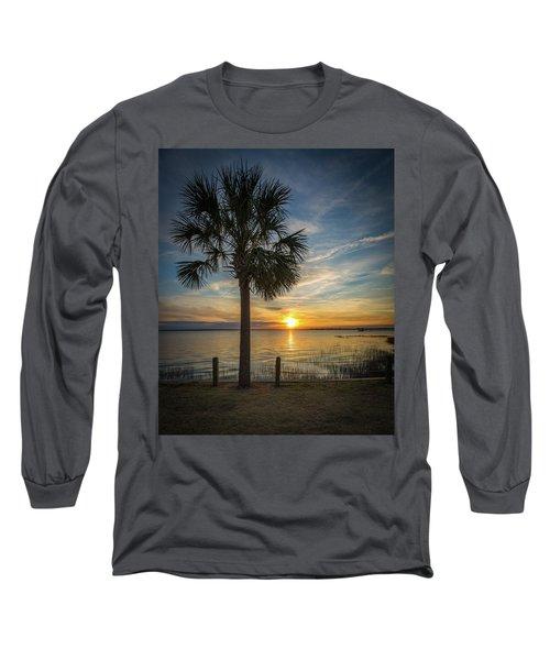 Pitt Street Bridge Palmetto Tree Sunset Long Sleeve T-Shirt