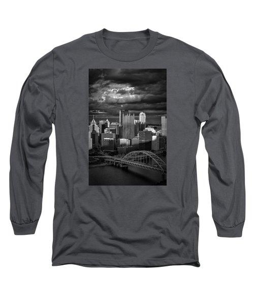 Pittsburgh Pennsylvania Skyline Long Sleeve T-Shirt by David Haskett