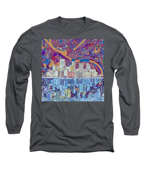 Pittsburgh Skyline Abstract 6 Long Sleeve T-Shirt