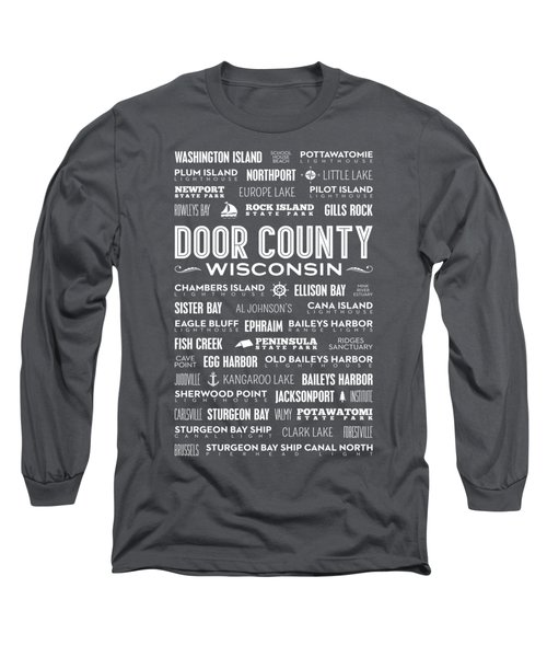 Places Of Door County On Gray Long Sleeve T-Shirt