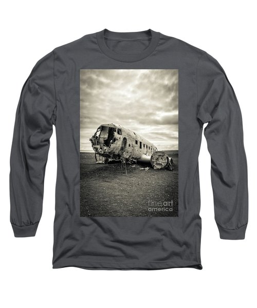 Long Sleeve T-Shirt featuring the photograph Plane Crash Iceland by Edward Fielding