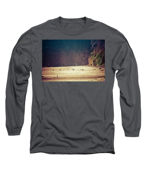 Playing Along Oceanside Oregon Long Sleeve T-Shirt by Amyn Nasser