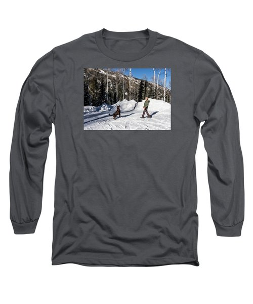 Playing Ball With A Beautiful Chocolate Lab Long Sleeve T-Shirt