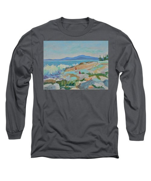 Long Sleeve T-Shirt featuring the painting Playing On Schoodic Rocks by Francine Frank