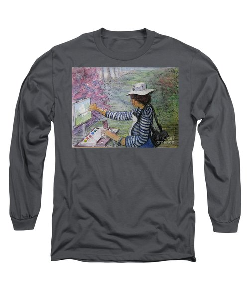 Long Sleeve T-Shirt featuring the painting Plein-air Painter  by Gretchen Allen