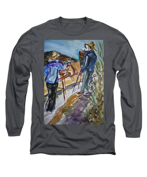 Plein Air Painters - Original Watercolor Long Sleeve T-Shirt by Quin Sweetman