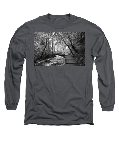 Plitvice In Black And White Long Sleeve T-Shirt