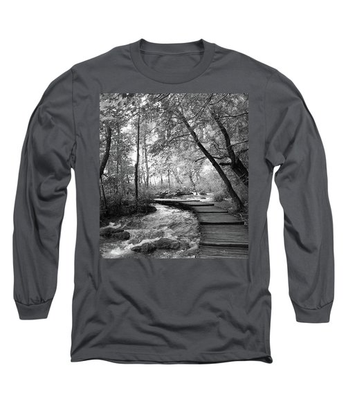 Long Sleeve T-Shirt featuring the photograph Plitvice In Black And White by Travel Pics