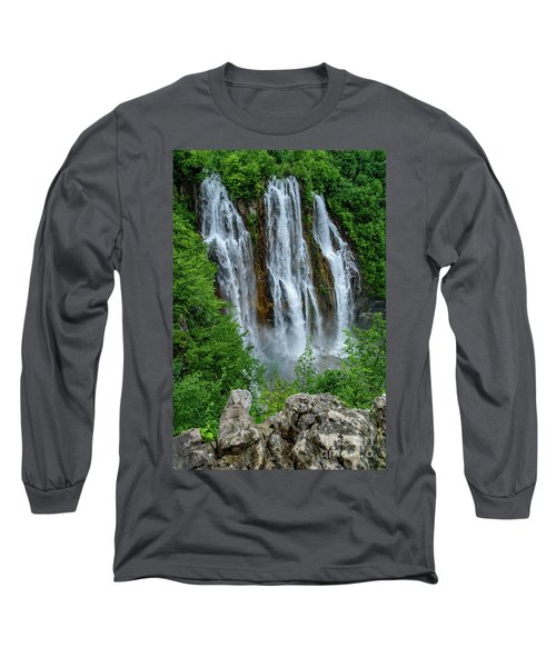 Plitvice Lakes Waterfall - A Balkan Wonder In Croatia Long Sleeve T-Shirt