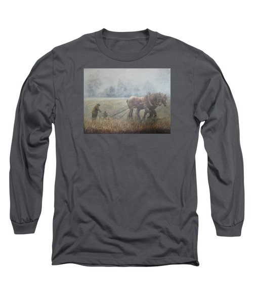 Plowing It The Old Way Long Sleeve T-Shirt by Donna Tucker