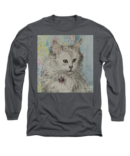 Poised Cat Long Sleeve T-Shirt by Kim Tran