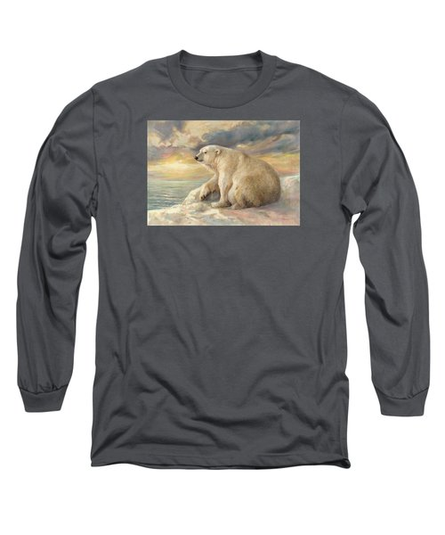 Polar Bear Rests On The Ice - Arctic Alaska Long Sleeve T-Shirt by Svitozar Nenyuk