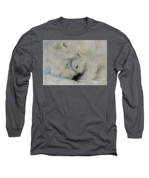 Long Sleeve T-Shirt featuring the drawing Polar Snuggle by Meagan  Visser