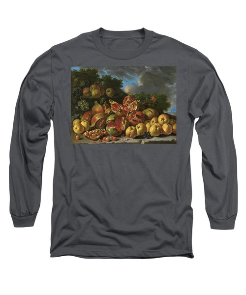 Pomegranates, Apples, Haws And Grapes In A Landscape Long Sleeve T-Shirt