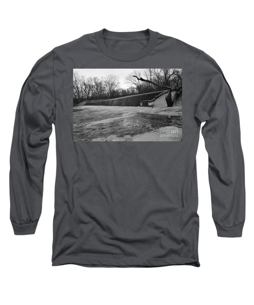 Falling Water On The Pompton Spillway In Winter Long Sleeve T-Shirt
