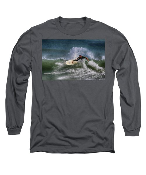Long Sleeve T-Shirt featuring the photograph Ponce Surfer 2017 by Deborah Benoit