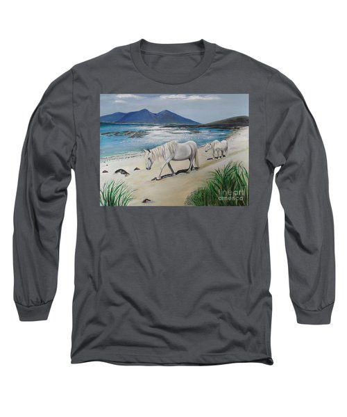 Ponies Of Muck- Painting Long Sleeve T-Shirt by Veronica Rickard