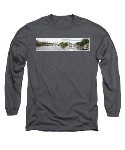 Long Sleeve T-Shirt featuring the digital art Pont Neuf Panorama by Kai Saarto