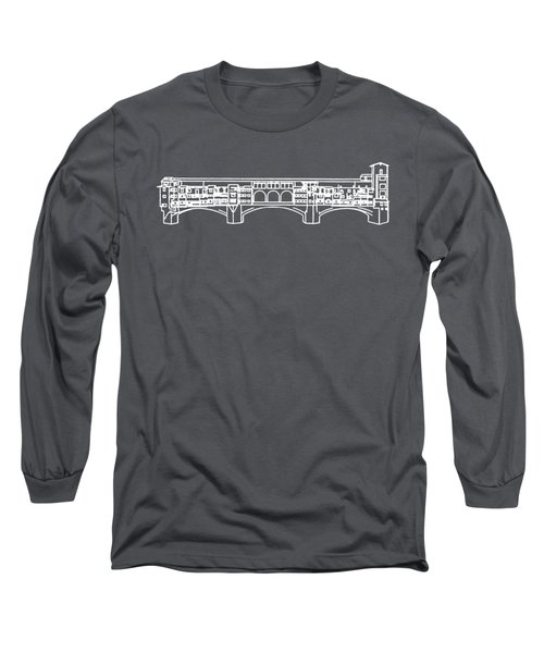 Ponte Vecchio Florence Tee White Long Sleeve T-Shirt by Edward Fielding