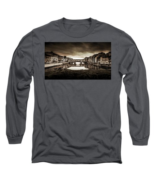 Ponte Vecchio In Sepia Long Sleeve T-Shirt by Sonny Marcyan