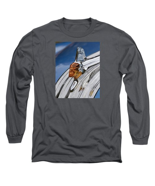 Long Sleeve T-Shirt featuring the photograph 1952 Pontiac Catalina Chieftan Lighted Hood Ornament by Betty Denise