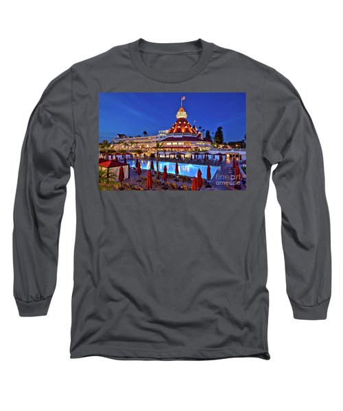 Poolside At The Hotel Del Coronado  Long Sleeve T-Shirt by Sam Antonio Photography