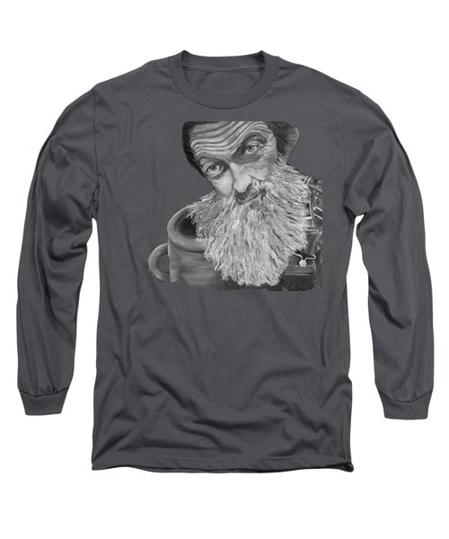 Popcorn Sutton Black And White Transparent - T-shirts Long Sleeve T-Shirt by Jan Dappen