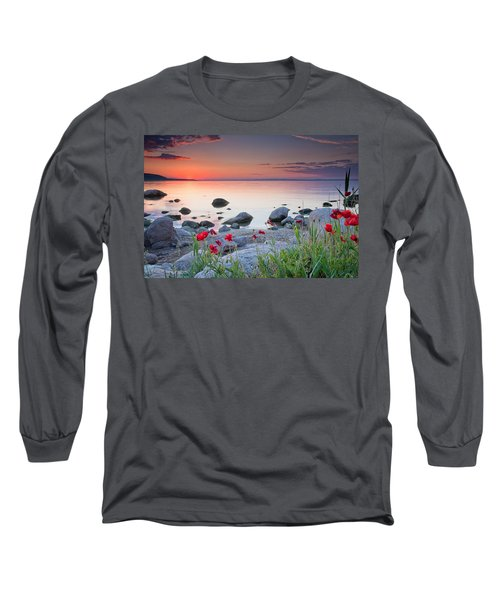 Poppies By The Sea Long Sleeve T-Shirt