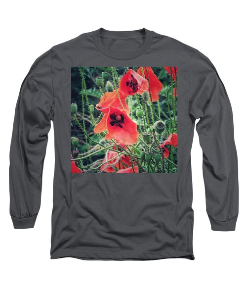Long Sleeve T-Shirt featuring the photograph Poppies by Karen Stahlros