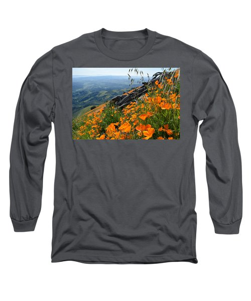Poppy Mountain  Long Sleeve T-Shirt by Kyle Hanson