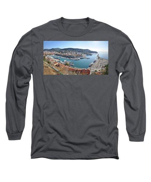 Long Sleeve T-Shirt featuring the photograph Port Nice Panorama by Yhun Suarez