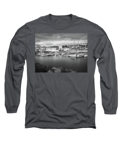Port Of Angra Do Heroismo, Terceira Island, The Azores In Black And White Long Sleeve T-Shirt by Kelly Hazel