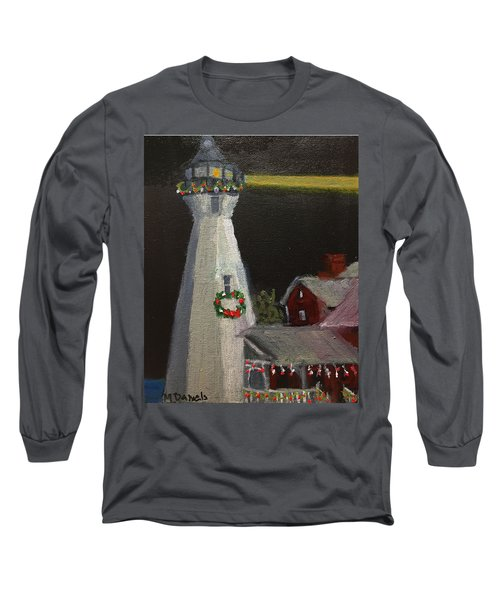 Port Sanilac Lighthouse At Christmas Long Sleeve T-Shirt