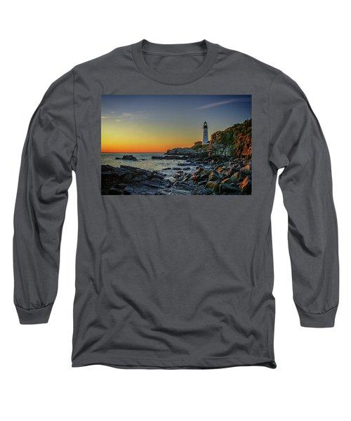 Portland Head Light At Dawn Long Sleeve T-Shirt
