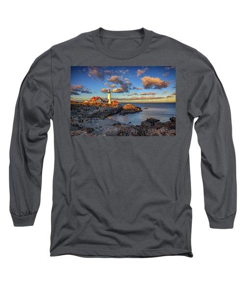 Portland Head Lighthouse At Sunset Long Sleeve T-Shirt