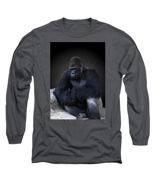 Portrait Of A Male Gorilla Long Sleeve T-Shirt
