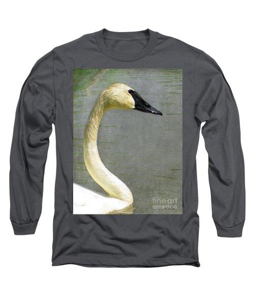 Portrait Of A Pond Swan Long Sleeve T-Shirt
